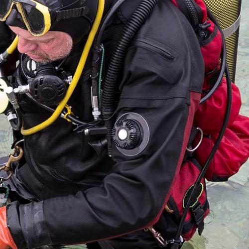 Diving Drysuit Dump Valve position