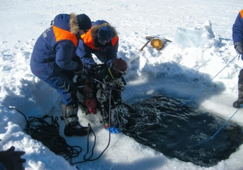 Diving Drysuit diving in ICE
