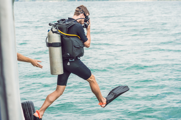 Diver in a Shorty Wetsuit